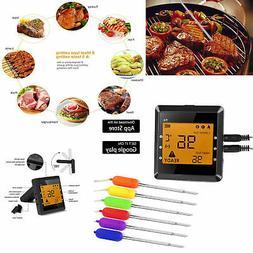 6 Probes Digital Wireless Kitchen Cooking Thermometer Blueto