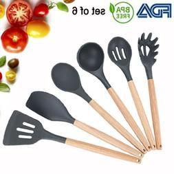 6Pc Silicone Cooking Utensils Kitchen Utensil set W/ Natural