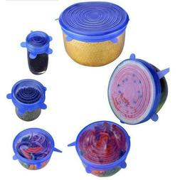 6PCS/Set Universal Silicone Lids Stretch Suction Cover Cooki