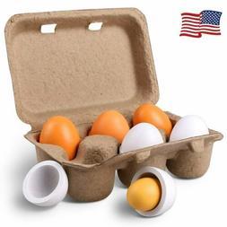 6pcs Set Wooden Eggs Yolk Pretend Play Kitchen Food Cooking
