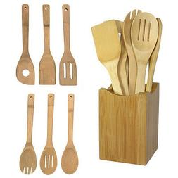 6x/Set Bamboo Utensil Kitchen Wooden Cooking Tools Spoon Spa