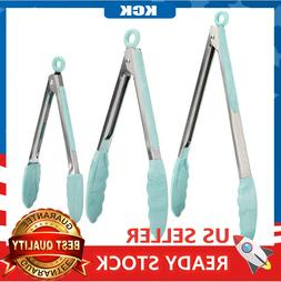 7,9,12in. Heat Resistant Locking Cooking Tongs with Silicone