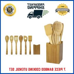 7 Piece Bamboo Cooking Utensil Set Wooden Spoon Spatula Fork