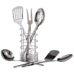 7pc Stainless Steel Kitchen Tool Set with Wire Caddy Holder