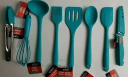 8 pc Cooking Concepts Teal Mini Silicone Kitchen Utensil Set