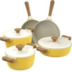 8 piece kitchen cookware set nonstick ceramic pots and pans