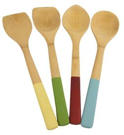 Architec Bamboo Kitchen Tools with Color Handles, Set of 4,
