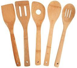 Bamboo Kitchen Utensil Set 5 Piece Totally Wooden Cooking To