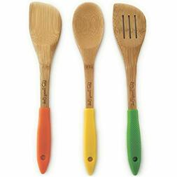 Bamboo Wooden Set Of 3 Kitchen Utensils - Spoon Spatula Turn