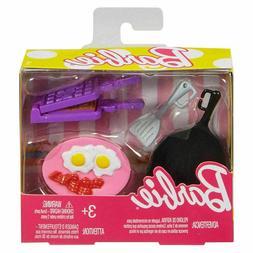 Barbie Breakfast Cooking Set Pan Eggs Bacon Turner Plate Dis