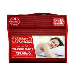 Copper X Bamboo Bed Sheet 6 PIECE SET!!! Queen Size DEEP POC