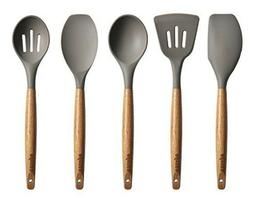 Best 5 Piece Silicone Cooking Utensil Set with Natural Acaci