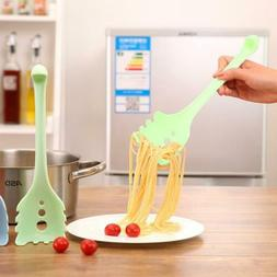 Black Silicone Spaghetti Fork Spoon Pasta Server Cooking Ute