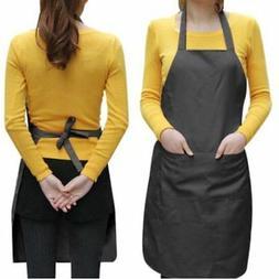 Black Women Solid Cooking Kitchen Restaurant Bib Apron Dress