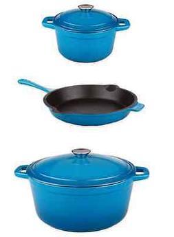 Blue Cast Iron Cookware Set Pots Pan Lids Kitchen Cooking, 5
