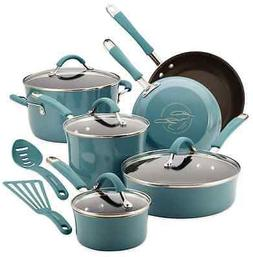 Blue Cookware Set, 12 Piece Hard Enamel Non Stick, Pots Fryi