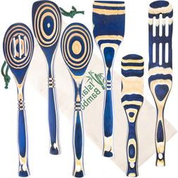 blue pakka wood 6 piece kitchen utensil