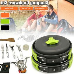 Camping Cookware Cooking Set Stove Kettle Gear Utensils Picn