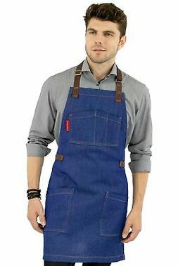 Chef Apron – Blue Denim – Cotton Straps - Smart Pockets