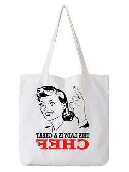 Chef Ladies Tote Bag Shopper Best Gift Cook Food Cooking Res