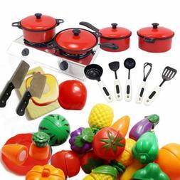Children Kids Kitchen Utensils Pots Pans Play Toys Dishes Fo