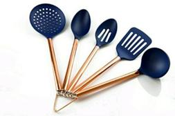 Cook With Color 5 Piece Utensil Set Rose Gold And Navy Blue