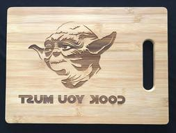 COOK YOU MUST Cutting Board Bamboo Wood Engraved Star Wars Y