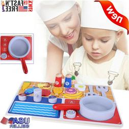 Cooking Pretend Toys Play Kitchen Set Cookware Starter Acces