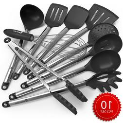 Cooking Silicone Utensils Set 10 - Best Nonstick Kitchen Coo