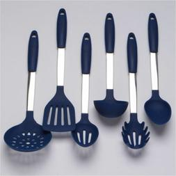 Cooking Utensils Set Stainless Steel & Silicone Tools Ladle