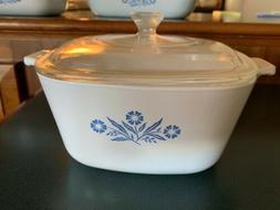 Corning Ware Vintage Rare Blue Flower 2 1/2 quart cooking di