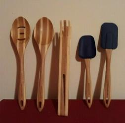 Rachael Ray Cucina QVC Set of 5 Wood Acacia Kitchen Utensil