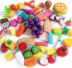 Cutting & Cooking Toy,Wooden Food, Pretend Play Kitchen Set,