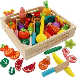 cutting cooking toy sets pretend play wooden