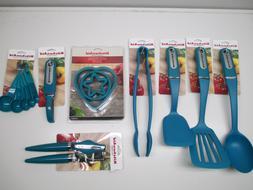 KitchenAid deep teal kitchen utensils