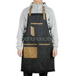 Denim Bib Apron Leather Strap Barista Baker BBQ Chef Barber