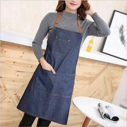 Denim Blue Canvas Apron Pocket for Butcher Baking Chef Kitch