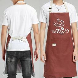 Double Thick Cotton Linen Apron Kitchen Waiter Cooking Chefs
