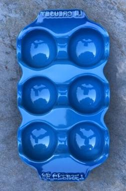 LE CREUSET  Egg Tray Cooking Holder Stoneware  Marseille Blu