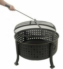 Extra Deep Round Fire Ring Outdoor Firepit Cooking Grill Gri