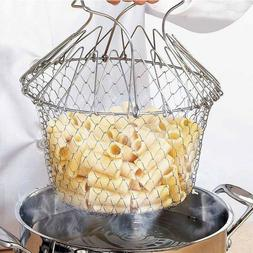 Folding Rinse Stainless Steel Frying Basket Fryer Strainer C