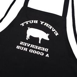 Funny BBQ Apron Every Butt Deserves A Good Rub, Black, Cooki