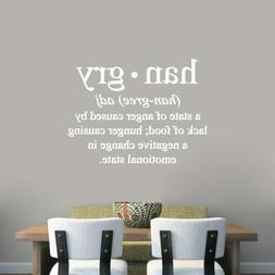 Hangry Wall Decal - Kitchen, Dining, Funny, Food, Cooking, E