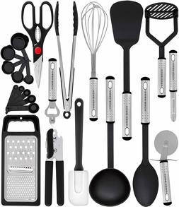 HomeHero Stainless Steel 25 Pieces Cooking Utensil Set - Sil