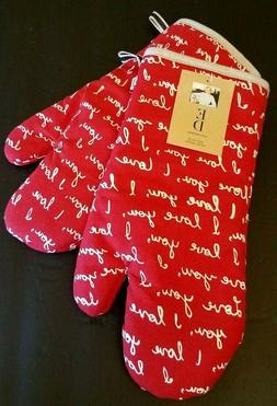Ellen DeGeneres I LOVE YOU Insignia Pot Pan Oven Mitts Red W