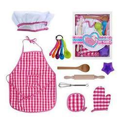 Kids Baking Set Cooking Apron - 13 Piece Children Kitchen Ba