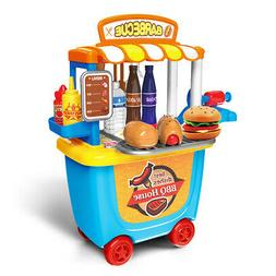 Kids BBQ Grill Pretend Play Toy Kitchen Barbecue Food Cookin