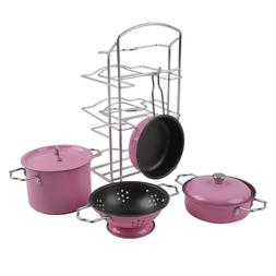 Kids Play Kitchen Toys Pretend Cooking Pink Stainless Steel