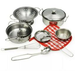 Kids Pots and Pans Kitchen Toy Play Set 10 Piece Childrens C