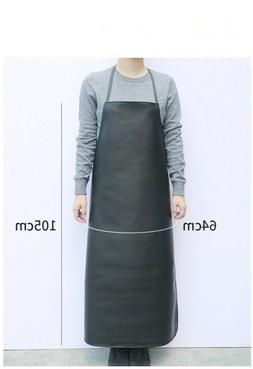 kitchen Apron Waterproof Faux Leather Chef Strap Bib Work Bl